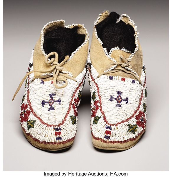 American Indian Art:Beadwork, A PAIR OF CHEYENNE CHILD'S BEADED HIDE MOCCASINS. . c. 1910. ...(Total: 2 Pieces)