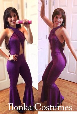 Selena Quintanilla Costume purple criss cross jumpsuit on etsy