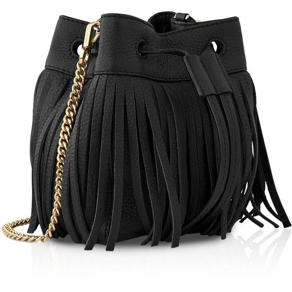 Whistles Micro Sidney Fringe Bucket Bag ($170) ❤ liked on Polyvore featuring bags, handbags, shoulder bags, black, mini handbags, mini shoulder bag, miniature purse, mini purse and mini bucket bag