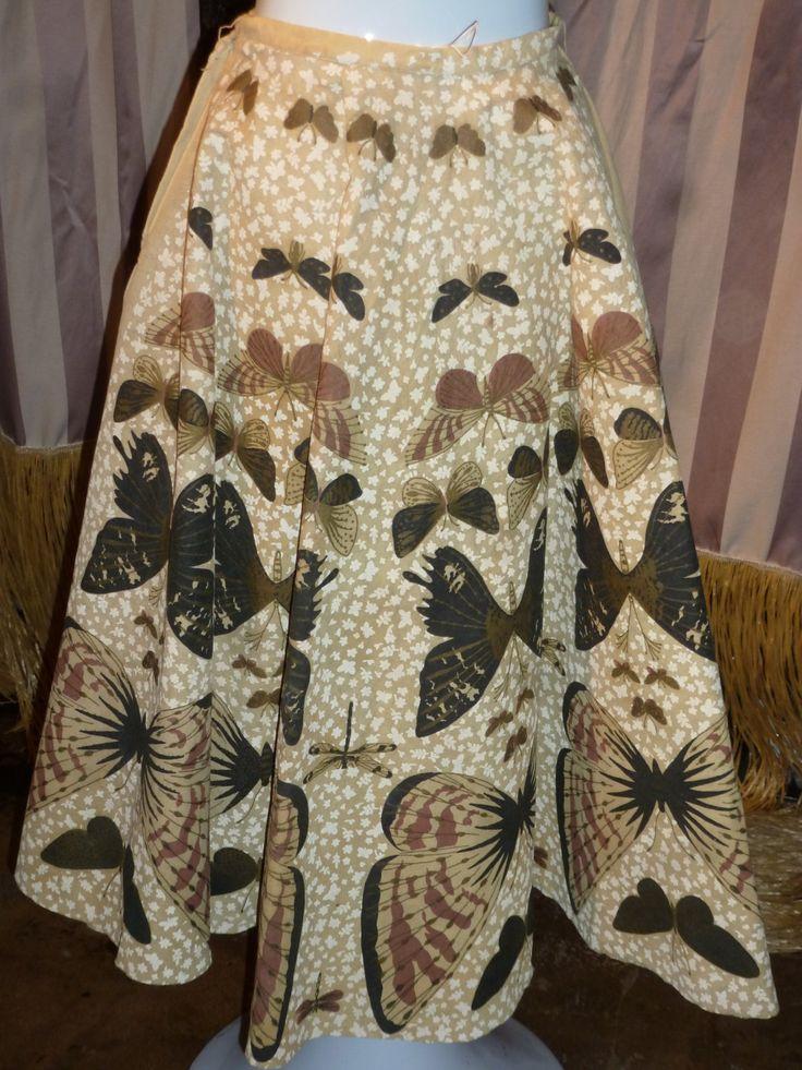 1950's Circle Skirt Butterflies Pelon Rockabilly Monarch Pin up Boudoir by ZwiggyAustinVintage on Etsy