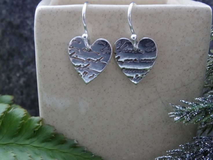 New to SilverWindsJewellery on Etsy: Silver Drop earrings  textured hearts   just for her ideas for wife  present for girlfriend gift for lover Christmas stocking (13.95 GBP)