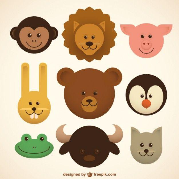 Baby dieren iconen Gratis Vector