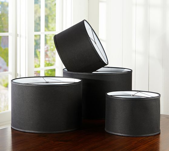drum lamp shades drum shade pottery barn lighting pottery barn black. Black Bedroom Furniture Sets. Home Design Ideas