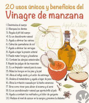 20 usos únicos e increíbles beneficios del vinagre de manzana                                                                                                                                                                                 Más