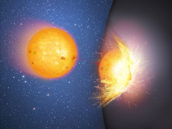 This is the first in a sequence of two artist's impressions that shows a huge, massive sphere in the center of a galaxy, rather than a supermassive black hole. Here a star moves towards and then smashes into the hard surface of the sphere, flinging out debris. The impact heats up the site of the collision. Image: Mark A. Garlick/CfA