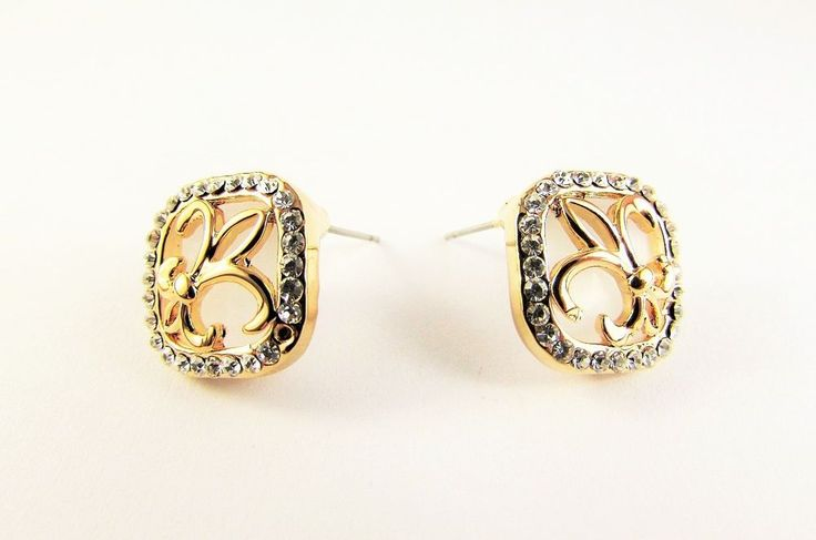 Gold Plated 18K GP Crystal Stud Earrings Women Jewellery