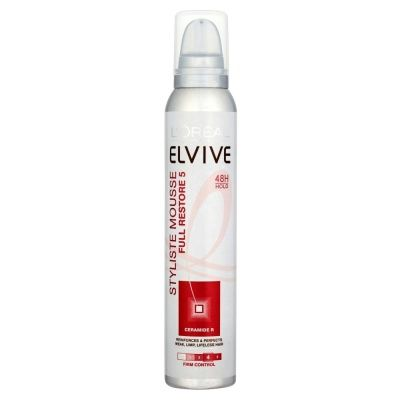 L`Oréal Loreal Elvive Full Restore Mousse Loreal Elvive Styliste Mousse Elvive Styliste Extra Volume styling mousse is enriched with Ceramide R. Your hairs surface structure is reinforced, leaving it feeling soft and more volumised. Elvive St http://www.MightGet.com/january-2017-12/lorã©al-loreal-elvive-full-restore-mousse.asp