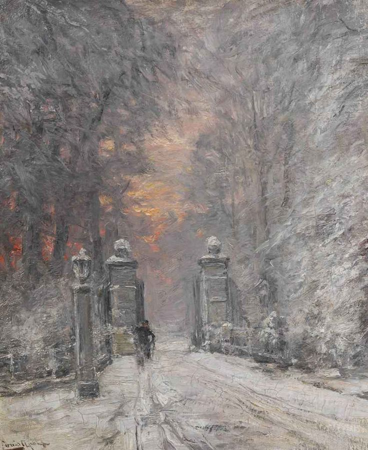 By the gate in winter, Louis Apol. Dutch (1850 - 1936)