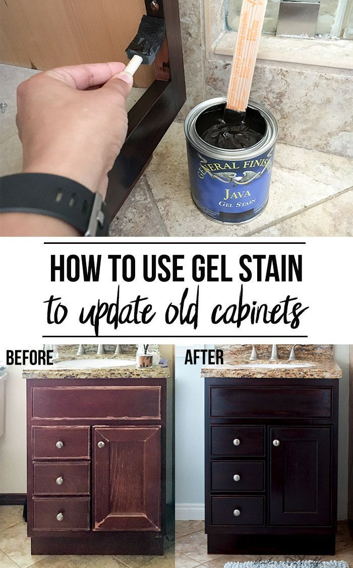 How To Use Gel Stain Update Cabinets Without Sanding Staining Cabinets Painting Furniture Diy Staining Furniture
