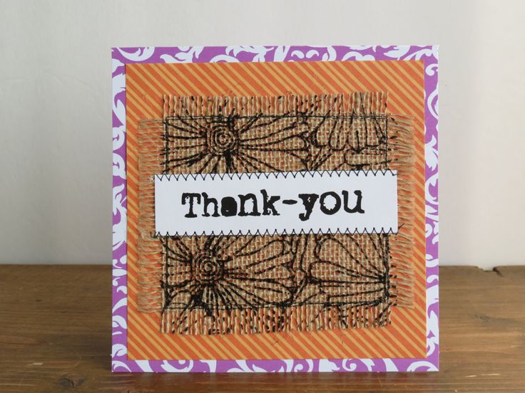 Quilted Burlap Thank You Card, Handmade Burlap Card, Mixed Media Card - pinned by pin4etsy.com