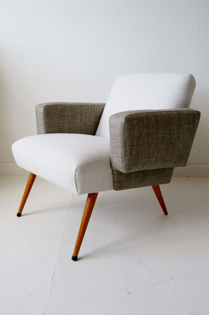 Very comfortable pair of 1950s french reclining leather armchairs - 1950s French Midcentury Armchair Two Tone