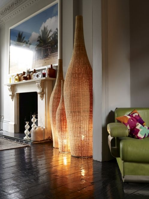 "Room by Abigail Adhern;  ""Bolla"" floor standing lamp in natural rattan; http://www.gervasoni1882.it/gervasoni/scheda.php?coll=Bolla&id;=11〈=en"