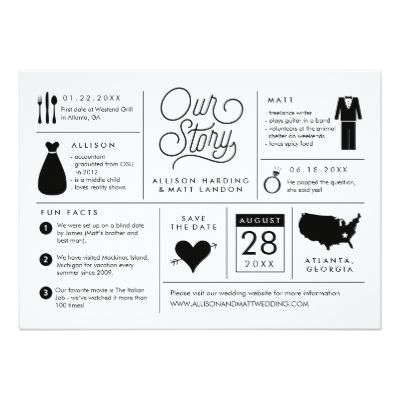 This infographic save the date features fun facts about the engaged couple so they can share their story with wedding guests. The back has a full bleed photo of the soon to be bride and groom.
