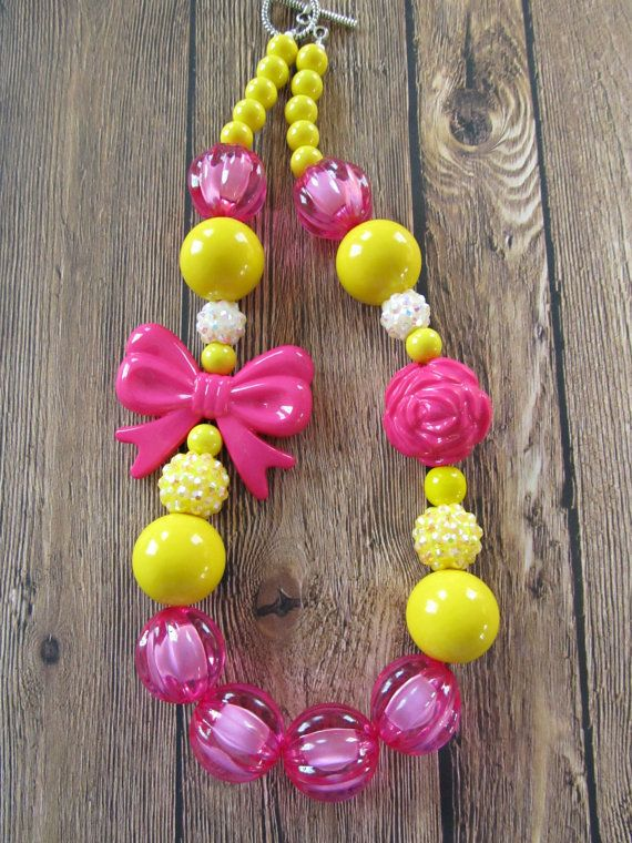 Chunky beaded necklace, little girl's jewelry by PaigeandPenelope, photo prop for girls, dress up, princess necklace
