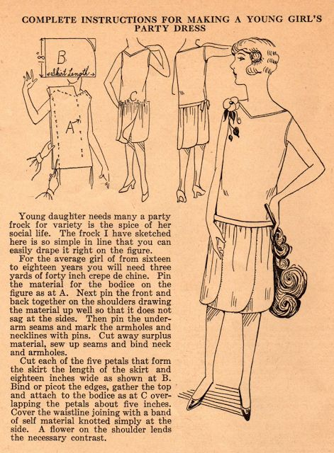 Home Sewing Tips from the 1920s: Teen's Petal-Skirted Party Dress