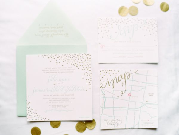 Love The Gold Foiling From This Mint And Gold Wedding Invite