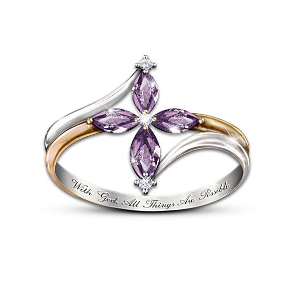 """The Trinity Amethyst And Diamond Ring - Beautiful, and my son's Birthstone ... """"With God, All Things Are Possible"""""""