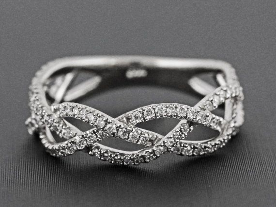 in crossover diamond band pid rings silver braided ring sterling weaved