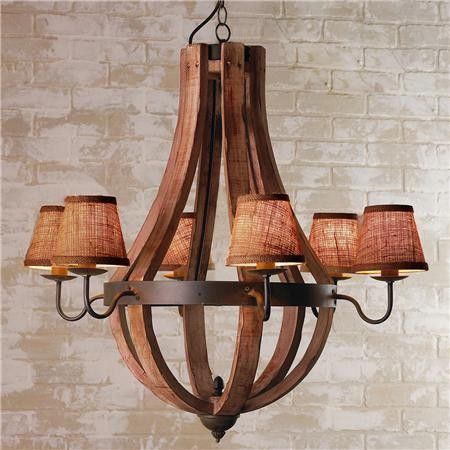 Wooden Wine Barrel Stave Chandelier - mediterranean - chandeliers - Shades of Light