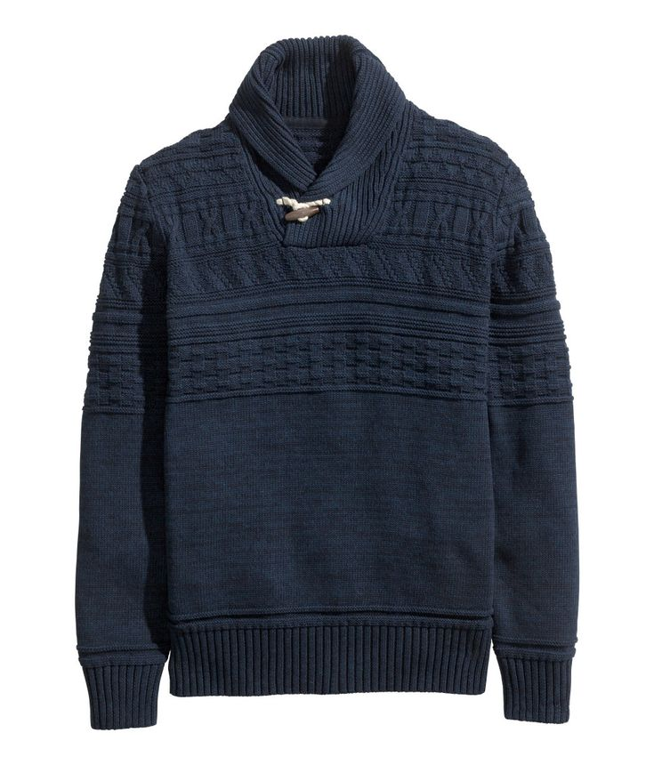 Dark blue cotton sweater with long sleeves, pattern knit, and shawl collar with toggle fastener.   H&M For Men