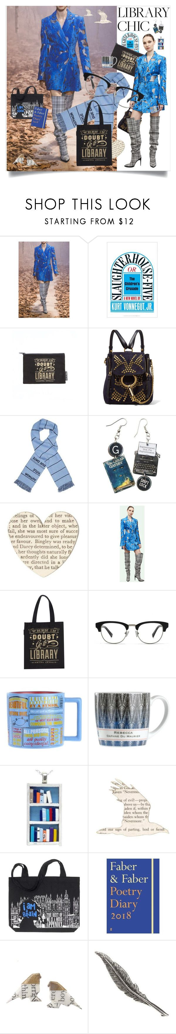 """""""When in Doubt: Go to the Library"""" by haikuandkysses ❤ liked on Polyvore featuring Off-White, Chloé, HOOK LDN, librarychic, off_white, offwhite_blue_coat, off_white_tartan_boots and offwhiteAW2017"""