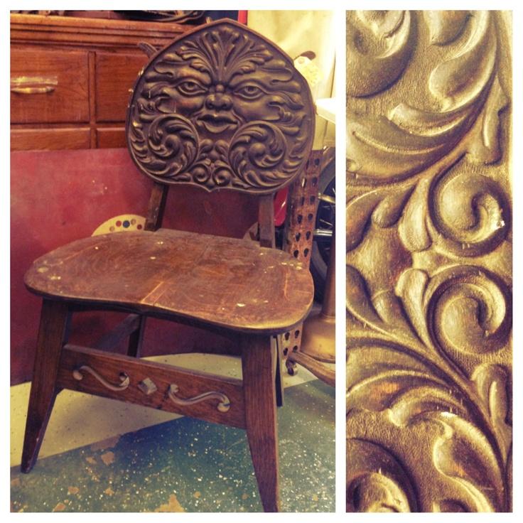 Unique Antique Furniture: Antique Greenman Chair. Truly Unique Piece.