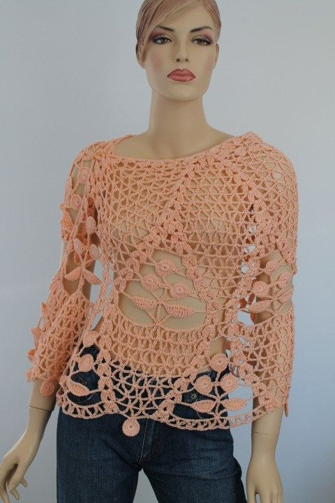 Apricot Cotton Lace Crochet Shawl Holiday por levintovich en Etsy