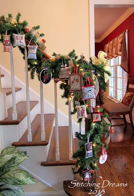 Stitching Dreams: 2013 Parade of Ornaments - staircase with cross stitch ornaments