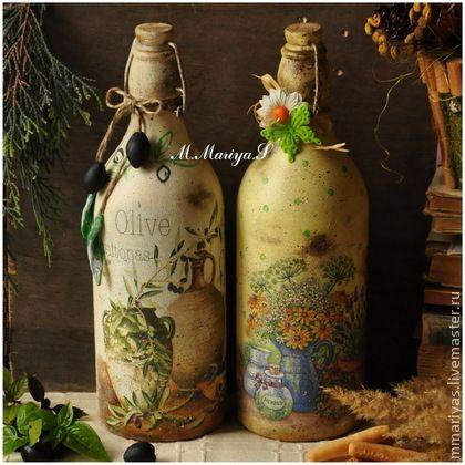 """Графины, кувшины ручной работы. Ярмарка Мастеров - ручная работа Бутылки """"В стиле кантри"""". Handmade."""