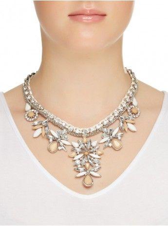 Flower statement necklace NEUTRAL 100