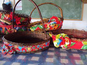 Festa Junina - Cestos e cestas enfeitados