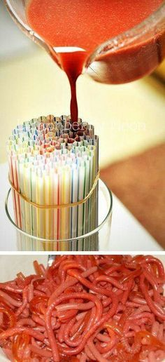 Halloween Jello Straw Worms. Make it with Jello Shot ingredients! (Roll out of straws with rolling pin, or squeeze out with fingers) [Halloween]