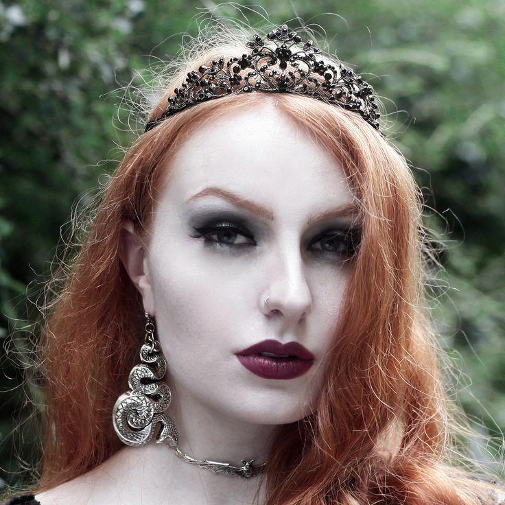 Olivia Emily wearing the 'Malice' snake earrings, 'Lilith' bat choker & 'Ember' black crystal choker. Get spooky.   #halloween #jewellery #tiara #queen