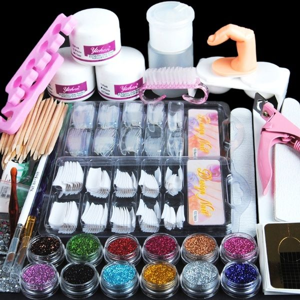 Acryl Nagelset Nail Art Set Professionelle Nageldesign Acryl Pulver Strasssteine Dekoration Kits Diy Acrylic Nails Kit Acrylic Nail Kit Nail Art Tool Kit