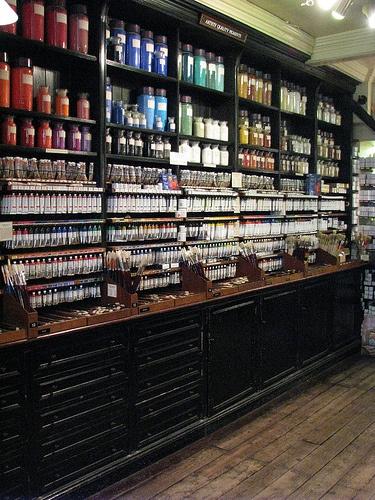 Inside L Cornelissen and Son art shop London - my favourite