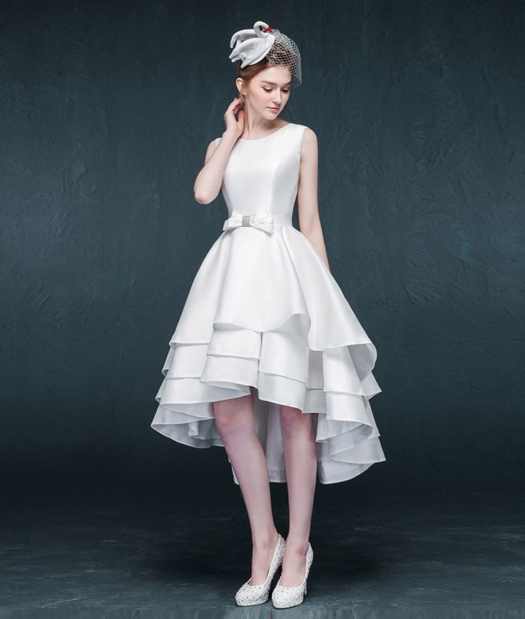 Transporte rápido frente curta tempo De volta Vestidos De noiva 2015 abrir voltar alta baixa vestido De noiva em camadas De cetim Vestidos De Noivas ZZB24