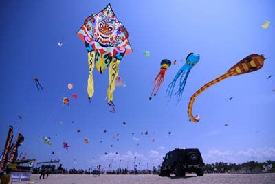 The Bali Kite Festival is an annual international kite festival held in July in Padang Galak area, Sanur Beach, Bali. Traditional giant kites (4 metres in width and almost 10 metres in length) are made and flown competitively by teams from the villages (banjar) of Denpasar. The event is a seasonal religious festival intended to send a message to the Hindu Gods to create abundant crops and harvests.
