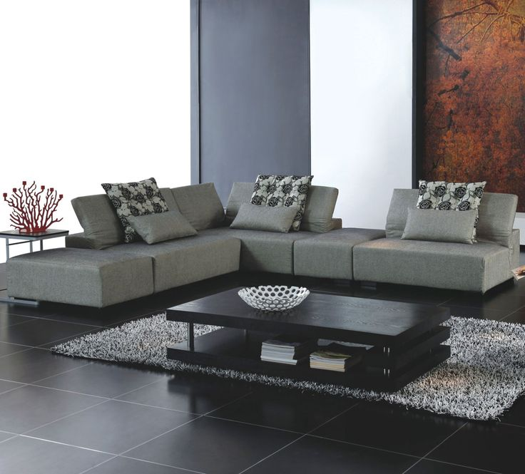 Modern Contemporary Fabric Sectional Sofa with black