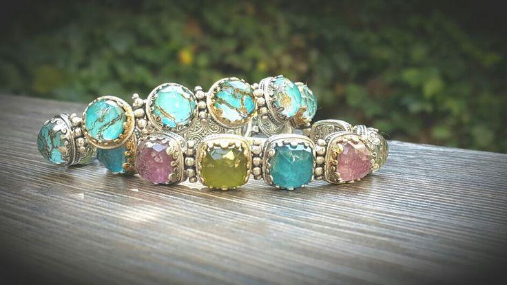 Gerochristo #jewelry #workshop #bracelets #gold18k #sterling silver #turquoise #pink tourmaline #prinitis #apatites