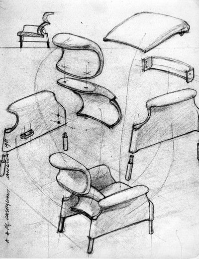 The armchair, designed so that the different elements it is composed of were pressed, finished and then assembled, represents a very interesting study of the possibilities of having a comfortable armchair made with a rather rigid structure.