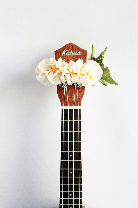 ribbon lei for ukulele / W plumeria / ukulele by ukuhappy on Etsy
