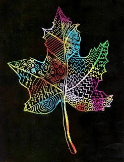 Art Projects for Kids: Scratch Art Leaf