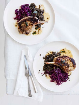Mustard and sage pork cutlets with red wine cabbage and lentilsMustard, Pork Recipe, Sage Pork, Yum, Wine Cabbages, Favorite Recipe, Red Wines, Pork Cutlets, Lentils