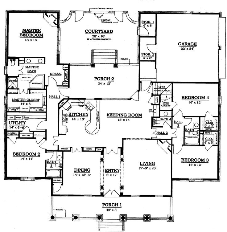 Garage Plans Blueprints 26 X 36 3 Car Traditional: 3,084 Square Feet, 4 Bedroom 3