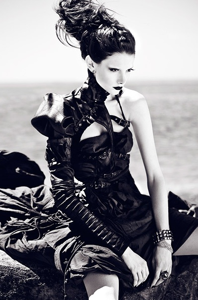 Dramatic beehive hair, asymmetrical dress & corset. Before the Tide Comes - Zhang Jingna fashion photography editorial. Black and white.