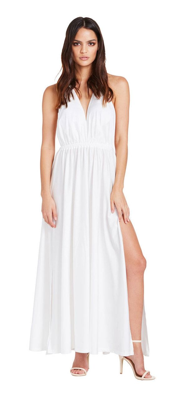 Santorini Double Split Maxi Dress (White) - Miss G