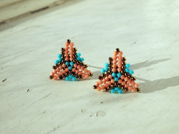Bright and bold earrings for day wear through to night - these lightweight beaded earrings are handmade with the highest quality Miyuki delica beads