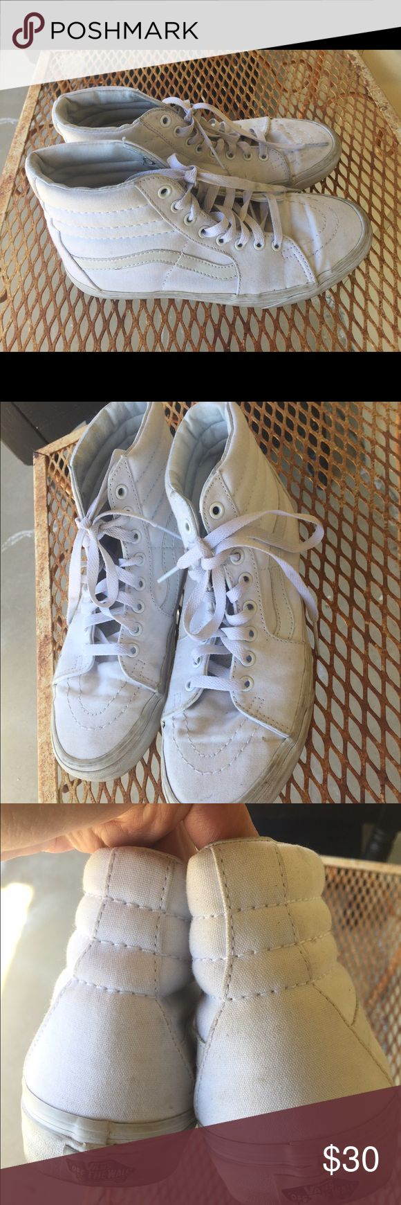 White Vans Sk8 high Size 9 women's 7.5 men's vguc So cute only wore a handful of times... still in very good used condition. Vans Shoes Sneakers