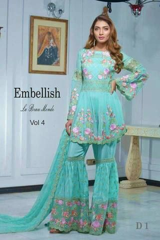 f52aaaf4a5 Embellish Chiffon Suit, Ladies Replica Shop, Embroidered Dress, Online  Replica
