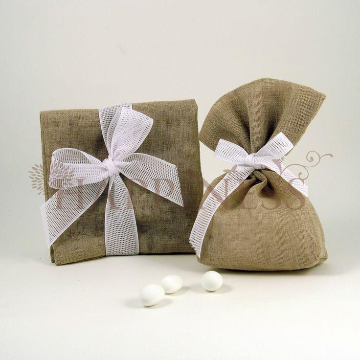 Μπομπονιέρα γάμου πουγκί & φάκελος λινός καφέ